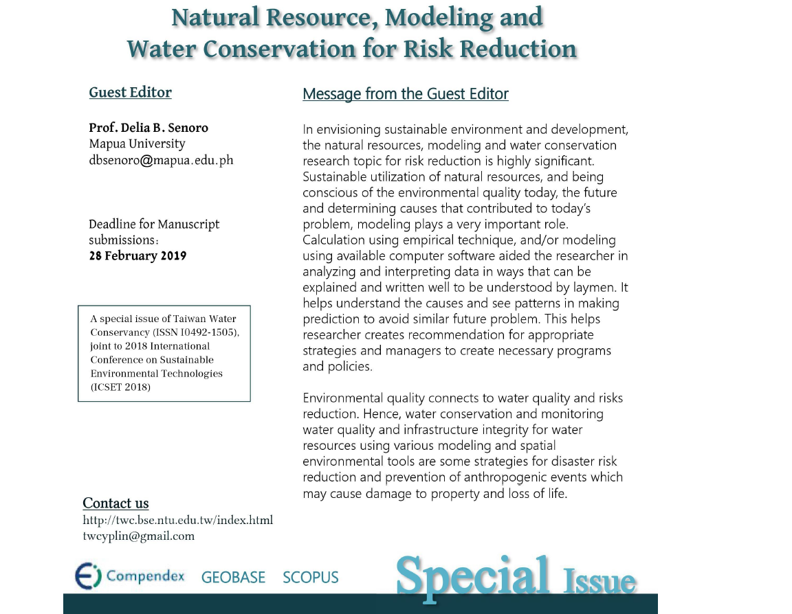 Natural Resource, Modeling and Water Conservation for Risk Reduction...